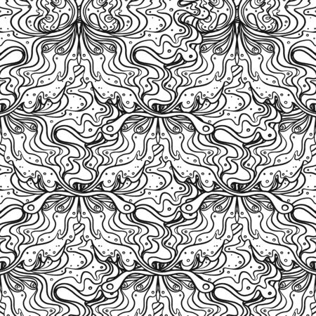 Abstract black and white seamless pattern Art Nouveau. Jugendstil. Modern repeating background. Vector illustration. Design for wallpaper art, coloring, nature and spirituality.