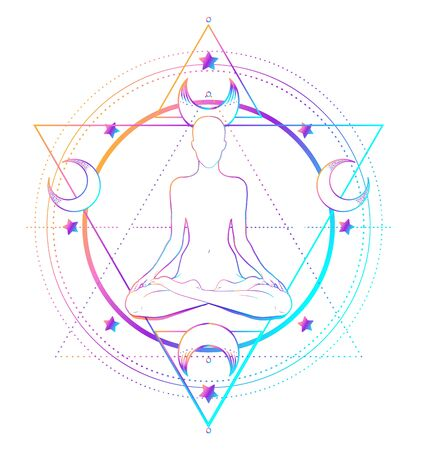 Sacred Geometry and Boo symbol set. Ayurveda sign of harmony and balance. Tattoo design. poster, t-shirt textile. Colorful rainbow gradient over black.