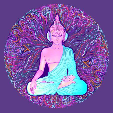 Bouddha assis sur fond néon coloré. Illustration vectorielle. Composition de champignons psychédéliques. Art coloré hippie des années 60. Vecteurs
