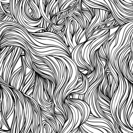 Trama naturale. Reticolo senza giunte riccio ornamentale di doodle disegnato a mano decorativo. Fondo senza fine di vettore. Disegno di arte di linea mare tempestoso. Splash oceano, nuvole o capelli. Vettoriali