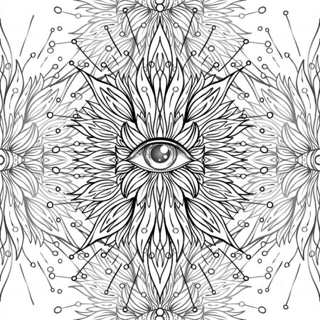 All seeing eye seamless pattern. Hand drawn vintage style background. Alchemy, spirituality, occultism, textiles art. Isolated vector illustration. Conspiracy theory. Ilustração