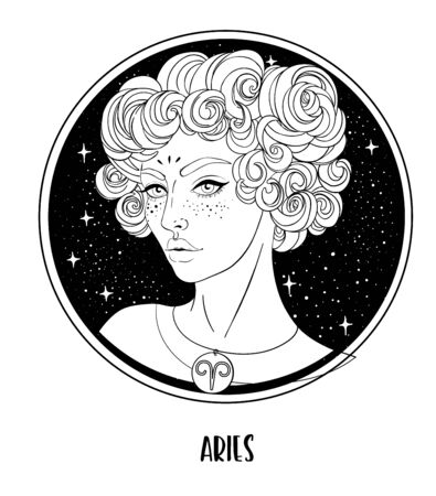Illustration of Aries astrological sign as a beautiful girl. Zodiac vector drawing isolated in black and white. Future telling, horoscope, alchemy, spirituality. Coloring book for adults.