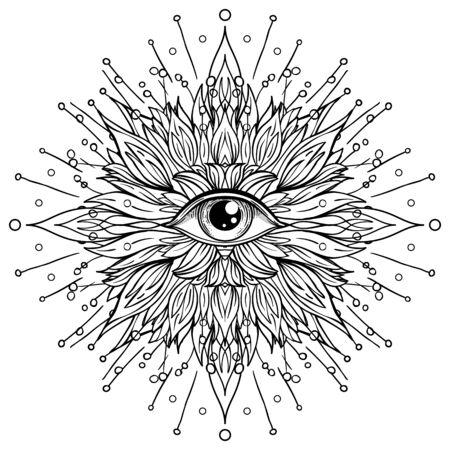 Lotus, Eye, Sacred Geometry. Ayurveda symbol of harmony and balance, and universe. Tattoo flesh design, yoga logo. Boho print, poster, t-shirt textile. Anti stress book. Isolated vector illustration.
