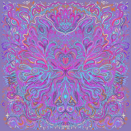 Hypnotic Shamanic Acid Patterned Background Hand Drawn Design