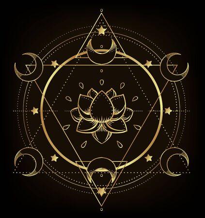 Fiore di loto ornamentale vettoriale, arte etnica, motivo cachemire indiano. Illustrazione disegnata a mano isolata. Invito. Adesivi dorati, tatuaggio temporaneo flash, simbolo mehndi. Sfumatura oro su nero.