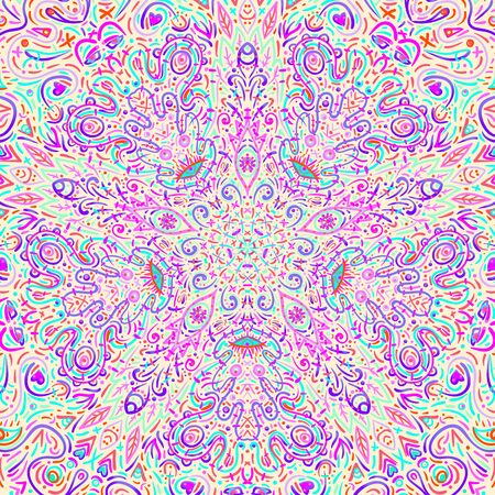Hypnotic shamanic acid pattern. Hand drawn design in ethnic Indian style. Mystic abstract background, hippie and boho texture. Occult and tribal fusion vector trippy.