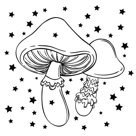 Magic mushrooms. Psychedelic hallucination. Outline vector illustration isolated on white. 60s hippie art. Coloring book for kids and adults.