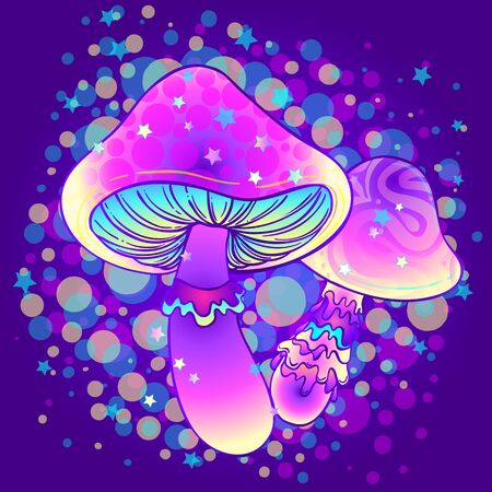 Magic mushrooms. Psychedelic hallucination. Vibrant vector illustration. 60s hippie colorful art. Decoration in ethnic boho style tattoo. Alchemy or astrology, esoteric or festive design.