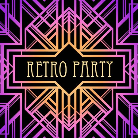 Art Deco vintage pattern in bright neon colors. Retro party geometric background 1920s style. Vector illustration for glamour party, thematic wedding or textile prints.