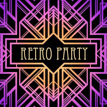 Patrón vintage Art Deco en colores neón brillantes. Fiesta retro fondo geométrico estilo años 20. Ilustración de vector para fiesta de glamour, boda temática o estampados textiles.