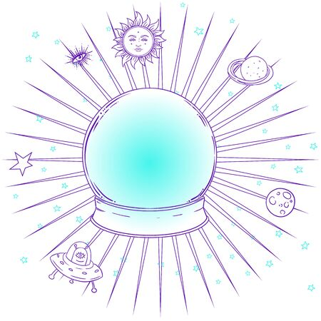 Blue crystal Ball with with all seeing eye inside isolated on white. Creepy cute vector illustration. Gothic design, mystic magic symbol, pastel colors. Future telling, Halloween concept. Vetores