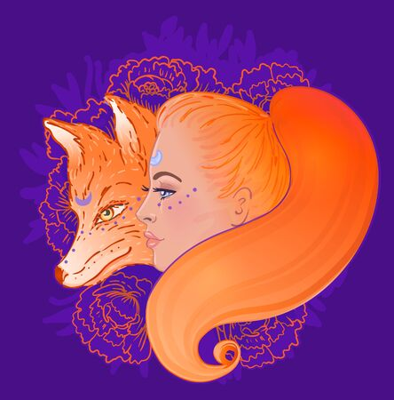 Beautiful woman portrait with a fox and flowers. Profile view. Color illustration. Vettoriali