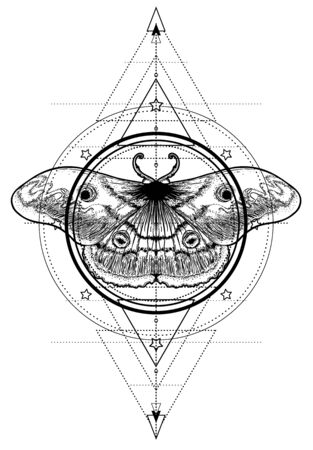 Black and white moth over sacred geometry sign, isolated vector illustration. Tattoo flash. Mystical symbols and insects. Alchemy, occultism, spirituality, coloring book. Hand-drawn vintage. Stockfoto - 139402730
