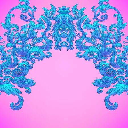 Vintage baroque floral patterned frame in bright neon colors. 1980s style. Ornate vector decoration. Luxury, royal and Victorian concept. Vintage design. Heraldic floral texture.