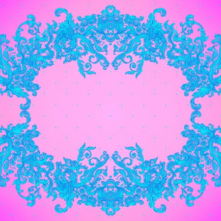 Vintage baroque floral seamless pattern in bright neon colors. 1980s style. Ornate vector decoration. Luxury, royal and Victorian concept. Vintage design with repetition. Heraldic floral texture.  イラスト・ベクター素材