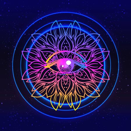 Sacred geometry symbol with all seeing eye in acid colors.