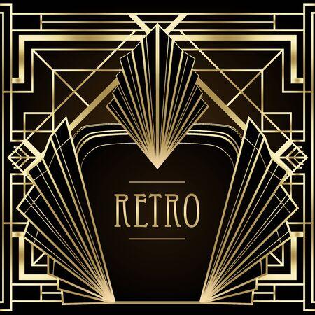 Motivi vintage Art Déco ed elementi di design. Lo sfondo geometrico del partito retrò ha impostato lo stile degli anni '20. Illustrazione vettoriale per feste glamour, matrimoni a tema o stampe tessili.