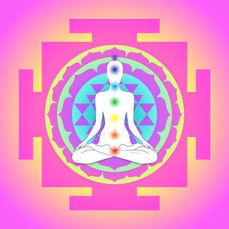 Buddha over Sri Yantra or Sri Chakra, form of mystical diagram Illustration