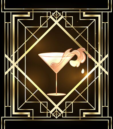 Little party never killed nobody. Female hand holding cocktail glass with splash. Art deco 1920s style vintage invitation template design for drink list, bar menu, glamour event, thematic wedding.