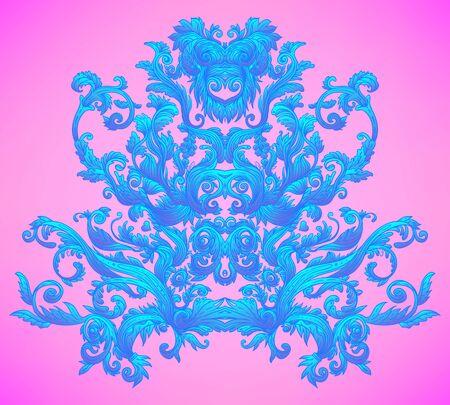 Vintage baroque floral patterned frame in bright neon colors.