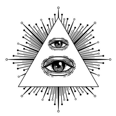 Blackwork tattoo flash. Eye of Providence. Masonic symbol. All seeing eye inside triangle pyramid. New World Order. Sacred geometry, religion, spirituality, occultism. Isolated vector illustration Vecteurs