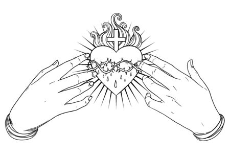 Open praying hands around sacred heart of Jesus. Hope faith and help, assistance and support symbol. Vector color illustration in vintage style isolated on black. Spirituality, religion, Catholicism.