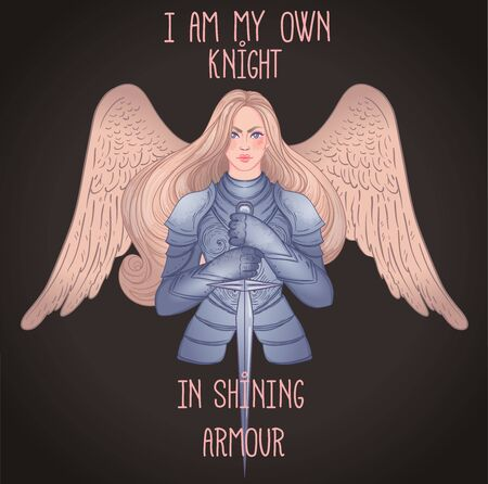 .Portrait of beautiful girl with archangel wings. Female knight in armour and sword. Vector isolated illustration. Medieval aesthetics. Girl power. Joan of Arc inspired. Sticker, patch, t-shirt print.