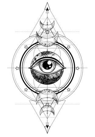 Eye of Providence. Masonic symbol. All seeing eye inside triple moon pagan Wicca moon goddess symbol. Vector illustration. Tattoo, astrology, alchemy, boho and magic symbol. Coloring book.