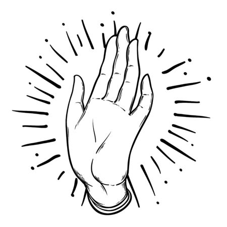 Vintage Hand. Hand drawn sketchy illustration with mystic and occult hand drawn symbols. Palmistry concept. Vector illustration. Spirituality, astrology, esoteric.