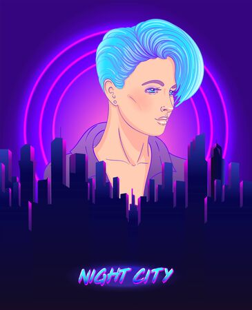 Portrait of a young pretty androgynous woman with short shaved pixie undercut in retro futurism style. Vector illustration in neon bright colors. short hair. futuristic synth wave flyer template. Illustration
