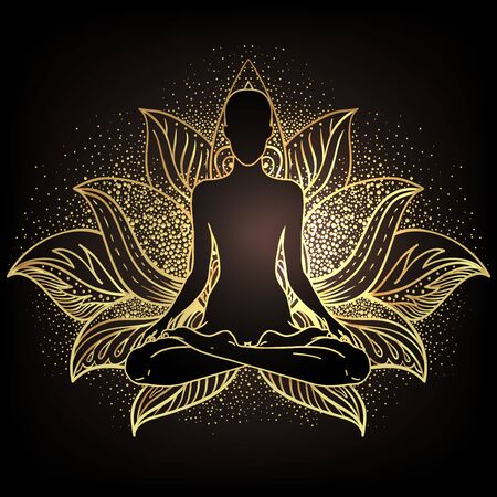 Chakra concept. Inner love, light and peace. Buddha silhouette in lotus position over ornate mandala. Vector illustration in gold isolated. Buddhism esoteric motifs. Tattoo, spiritual yoga. Ilustración de vector