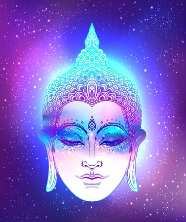 Buddha face over ostarry cosmic background. Esoteric vintage vector illustration. Indian, Buddhism, spiritual art. Psychedelic Poster, Hippie tattoo, spirituality, Thai god, yoga character. Zdjęcie Seryjne - 140163560