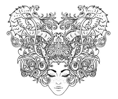 Tribal Fusion Boho Diva. Beautiful girl with ornate crown and Fantasy creature dragon. Medieval Heraldic coat of arms crest shield emblem. Bohemian goddess. Hand drawn elegant illustration. Ilustracja