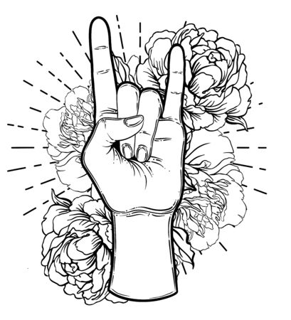 Rock and roll sign. Hand drawn illustration of human hand showing sign of the horns. Gesture of Heavy metal culture. Zdjęcie Seryjne - 140163566