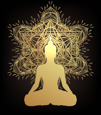 Chakra concept. Inner love, light and peace. Buddha silhouette in lotus position over ornate mandala. Vector illustration in gold isolated. Buddhism esoteric motifs. Tattoo, spiritual yoga.