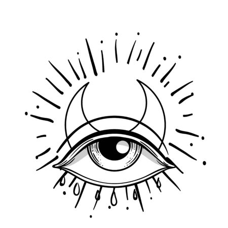 Blackwork tattoo flash. Eye of Providence. Masonic symbol. All seeing eye inside triangle pyramid. New World Order. Isolated vector illustration Zdjęcie Seryjne - 140163577