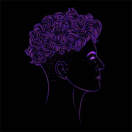 Portrait of a young pretty woman with side shaved hair. Vector illustration isolated. Hand drawn art of a boyish looking girl. Modern street subculture haircut for woman. Side view. Illustration