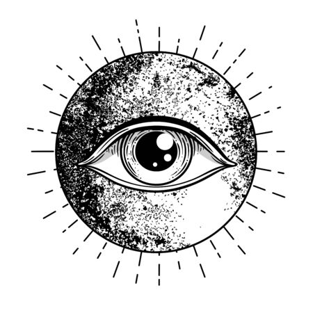 Eye of Providence. Masonic symbol. All seeing eye inside triple moon pagan Wicca moon goddess symbol. Vector illustration. Tattoo, astrology, alchemy, boho and magic symbol. Coloring book. Vektorgrafik