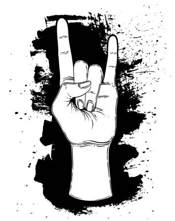 Rock and roll sign. Hand drawn illustration of human hand showing sign of the horns. Gesture of Heavy metal culture.