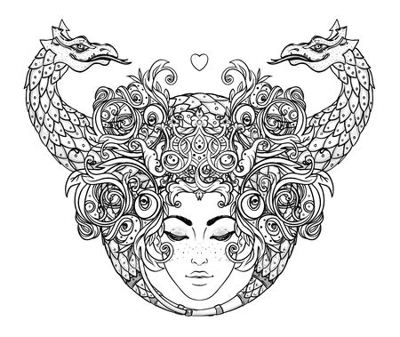 Tribal Fusion Boho Diva. Beautiful girl with ornate crown and Fantasy creature dragon. Medieval Heraldic coat of arms crest shield emblem. Bohemian goddess. Hand drawn elegant illustration. Векторная Иллюстрация
