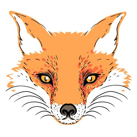 Cute fox face. Character tattoo design for pet lovers, artwork for print, textiles. Isolated vector illustration. Ilustracja