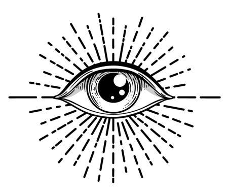Blackwork tattoo flash. Eye of Providence. Masonic symbol. All seeing eye inside triangle pyramid. New World Order. Sacred geometry, religion, spirituality, occultism. Isolated vector illustration Ilustración de vector