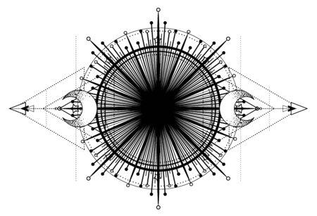 Moon frame. Sacred Geometry. Ayurveda symbol of harmony and balance, and universe. Zdjęcie Seryjne - 140163839
