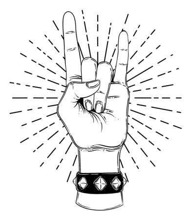 Rock and roll sign. Hand drawn illustration of human hand showing sign of the horns. Gesture of Heavy metal culture. Zdjęcie Seryjne - 140163848