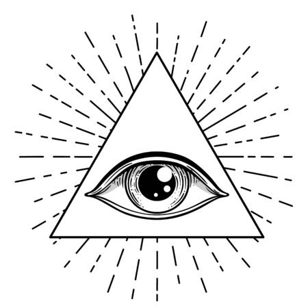 Blackwork tattoo flash. Eye of Providence. Masonic symbol. All seeing eye inside triangle pyramid. New World Order. Sacred geometry, religion, spirituality, occultism. Isolated vector illustration Zdjęcie Seryjne - 140163892