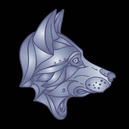 Wolf head. Side view. wildlife tattoo art, fantasy style. Vector isolated illustration. Zdjęcie Seryjne - 140163898