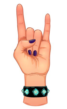 Rock and roll sign. Hand drawn illustration of human hand showing sign of the horns. Gesture of Heavy metal culture. Raised hand as a rock and roll sign. Vettoriali