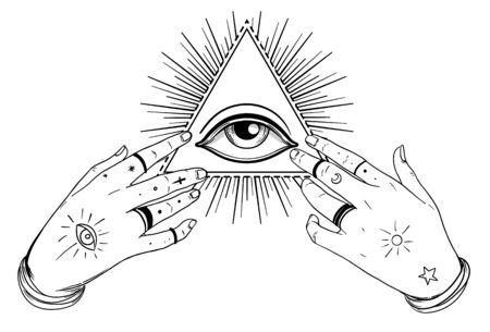 Human hands open around masonic symbol all seeing eye over sacred heart and pyramid. New World Order. Alchemy, religion, spirituality, occultism. Color vector illustration in vintage style isolated.