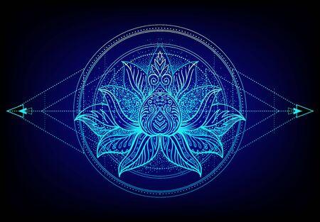Vector ornamental Lotus flower, ethnic art, patterned Indian paisley. Hand drawn illustration. Invitation element. Tattoo, astrology, alchemy, boho and magic symbol. Gradient over black.