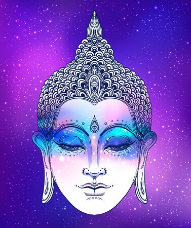 Buddha face over ostarry cosmic background. Esoteric vintage vector illustration. Indian, Buddhism, spiritual art. Psychedelic Poster, Hippie tattoo, spirituality, Thai god, yoga character. Ilustracja